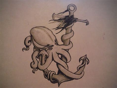 octopus anchor tattoo octopus and anchor drawings www imgkid the