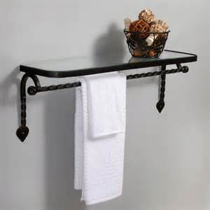 Bathroom Glass Shelves With Towel Bar Collection Cast Iron Glass Shelf With Towel Bar Matte Black Bathroom