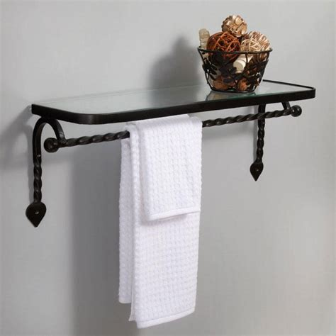 Bathroom Shelves With Towel Rack Collection Cast Iron Glass Shelf With Towel Bar Matte Black Bathroom Shelves