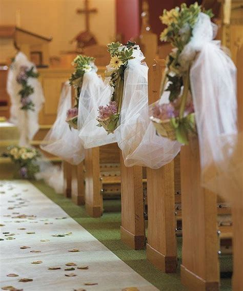 draping tulle pew decorations idea wedding decorations