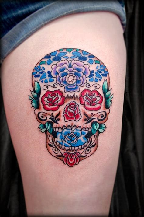 what does a rose and skull tattoo symbolize 40 sugar skull meaning designs