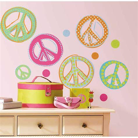 Wandtattoo Kinderzimmer Roommates by Roommates Wandsticker Peace Zeichen Mit Glitter Kinderzimmer