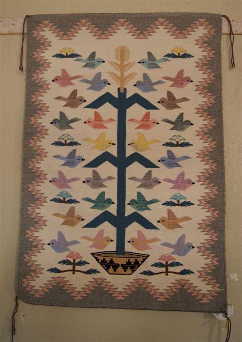 navajo tree of rug tree of navajo weaving with 28 birds