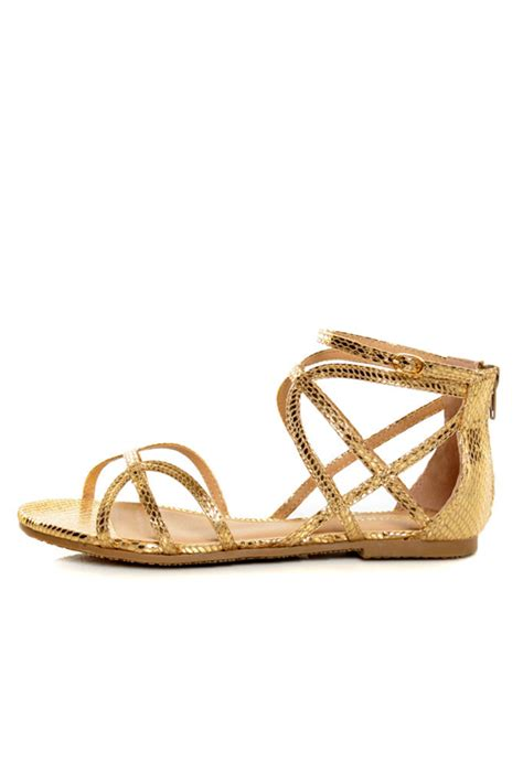 gold strappy flat sandals bamboo firework 92 gold snake strappy flat gladiator