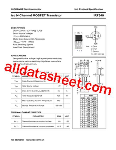 transistor irf 640 irf640 datasheet pdf inchange semiconductor company limited