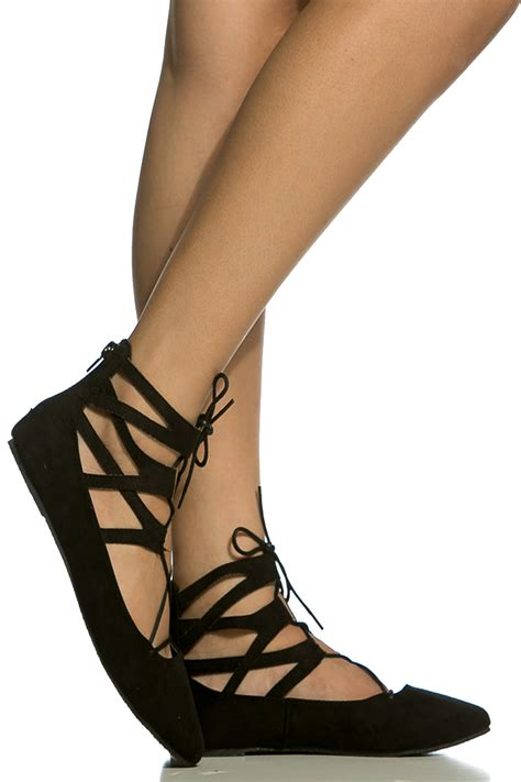 cheap black flats shoes black faux suede lace up pointed toe flats cicihot flats