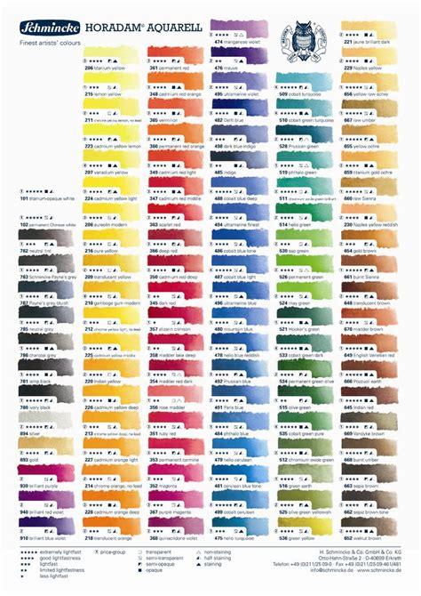 list of colors a z schmincke horadam watercolor chart printablehd