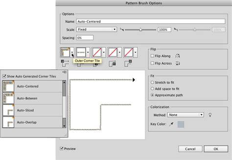 pattern options illustrator creating a pattern brush in illustrator cc using a raster