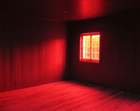 red room crimson red room interior surreal spooky window by gbrosseau