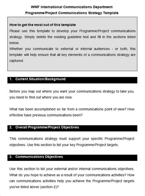 comms strategy template 10 communication strategy templates free word pdf
