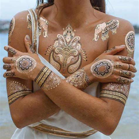 gold and silver tattoos henna temporary metallic temporary gold