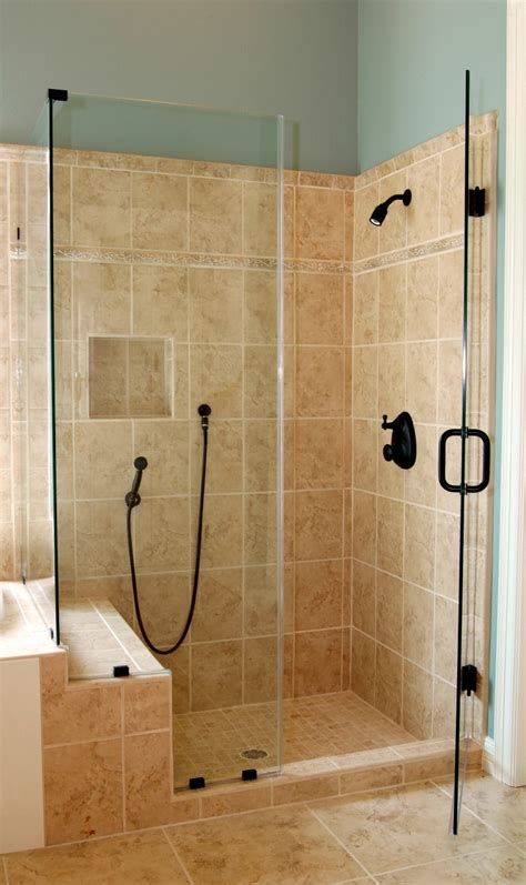 Main Bathroom Ideas by Bathroom Corner Glass Shower Enclosure With Black Door