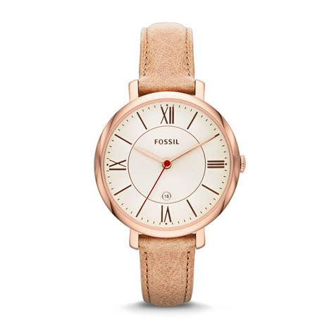 fossil jacqueline gold plated brown leather