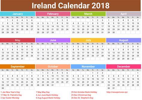 printable calendar ireland 2018 f 233 ilire 201 ire bliain nua 2018 le laethanta saoire