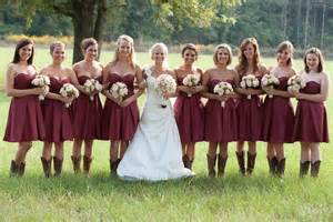 crimson bridesmaid dresses with cowboy boots wedding