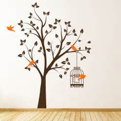beautiful tree with bird cage and flying birds wall art popular items for family wall decor on etsy