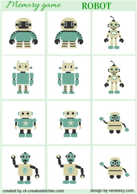 printable games for kids robot memory game free robot memory game free printable creative kitchen