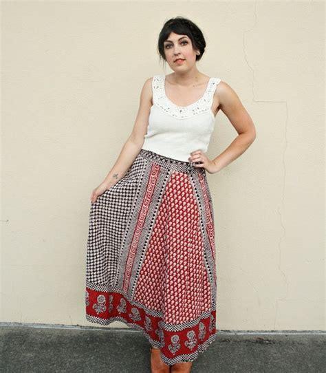 Batik Ethnic Skirt reserved for eryn vintage wrap skirt autumnal skirt ethnic batik skirt 1970s wrap skirts