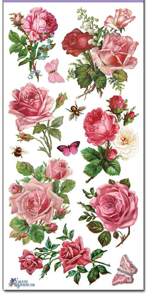 decoupage stickers stickers pink roses decoupage collage mixed