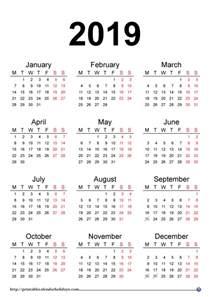 Calendar 2018 And 2019 Printable 2019 Yearly Calendar Printable Printable 2017 Calendar