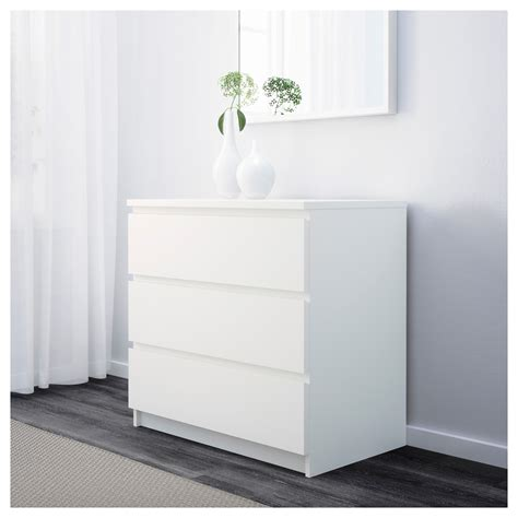 Ikea Besta 21305 malm chest of 3 drawers white 80x78 cm ikea