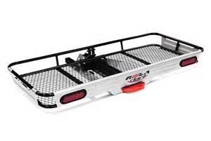 hitch mount cargo carriers trays baskets boxes bags