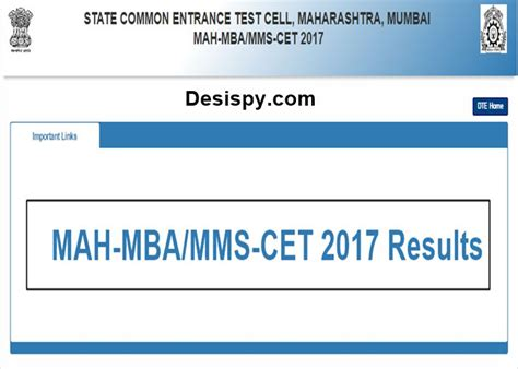 Mh Cet Mba Result 2017 by Maharashtra Mah Cet Results 2017 Declared Check Mah Mba