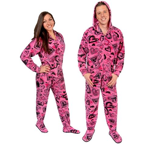 drop seat pajamas for adults sketchy hearts hooded fleece footed pajamas with