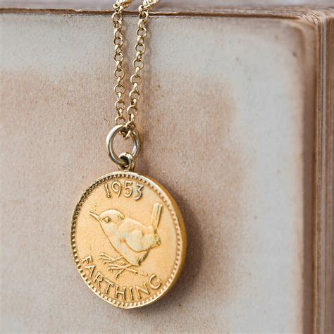 gold lucky coin necklace by cabbage white