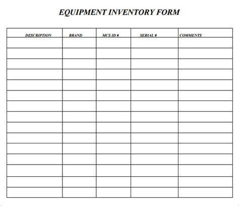 equipment inventory template sle asset inventory template 9 free documents