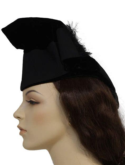 1940s vintage hat 40s i magnin womens black velveteen