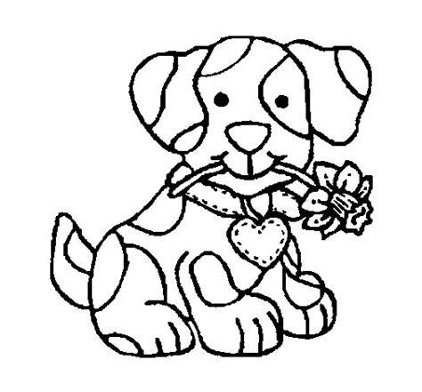 Dibujo De Cachorro Con Una Flor En La Boca Para Colorear | dibujo de cachorro con una flor en la boca para colorear