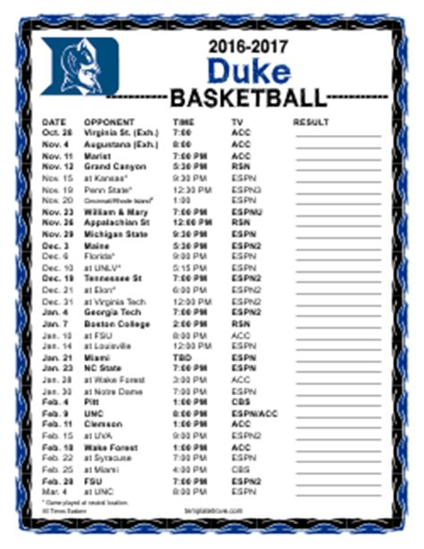 printable uk basketball schedule 2017 2016 2017 college basketball schedules