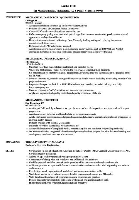 Mechanical Inspector Resume mechanical inspector resume sles velvet