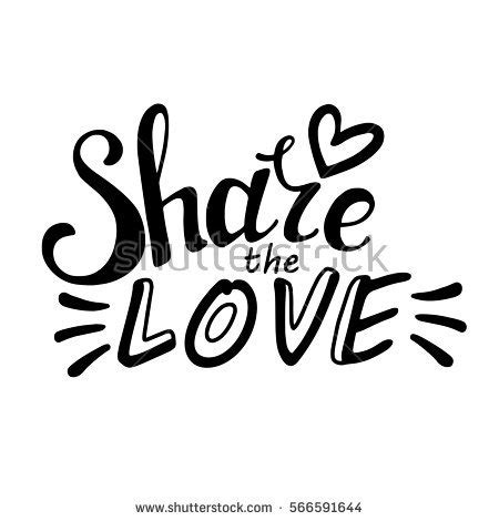 share font design quotes words share love vector inspirational quote stock vector