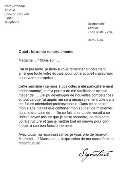 Exemple De Lettre De Remerciement Pour Un Rapport De Stage Lettre De Remerciement Suite 224 Un Stage Mod 232 Le De Lettre