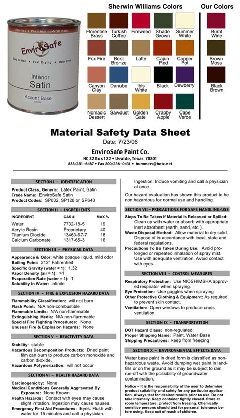 paint msds zero voc acrylic interior satin paint