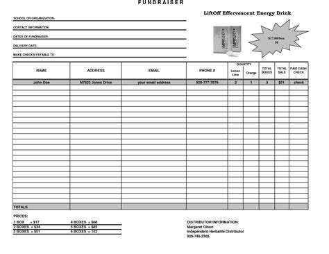 fundraiser order form template excel best photos of excel fundraising template free event