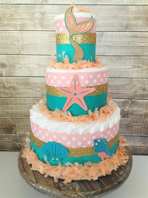 Mermaid Baby Shower Cake by Mermaid Cake In Coral Teal And Gold Mermaid Theme