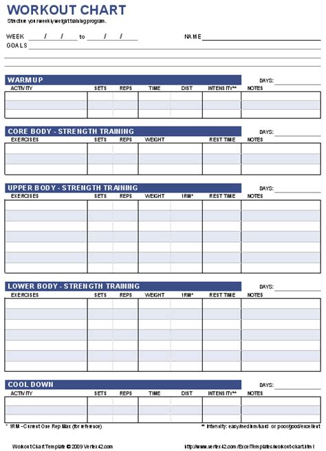 workout templates free workout chart printable weight lifting chart template