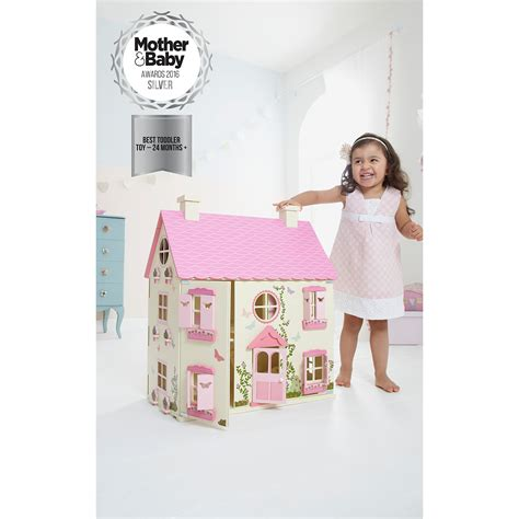 kids wooden dolls house wooden kids doll house with furniture staircase fits barbie dollhouse play fun ebay