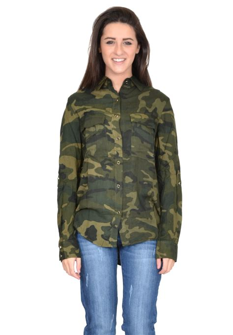 Arimby Blousr new womens army green camouflage sleeve baggy shirt blouse