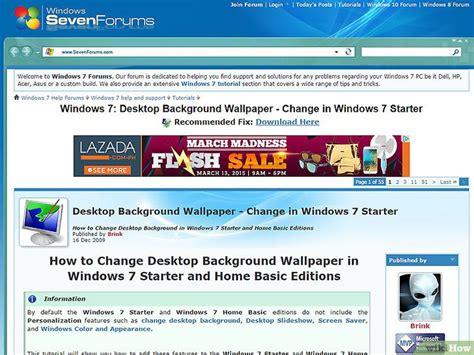 wallpaper en windows 7 starter comment changer le fond d 233 cran du bureau sur windows 7