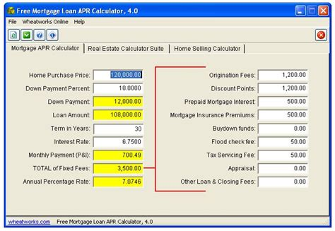 calculator house loan free mortgage loan apr calculator download