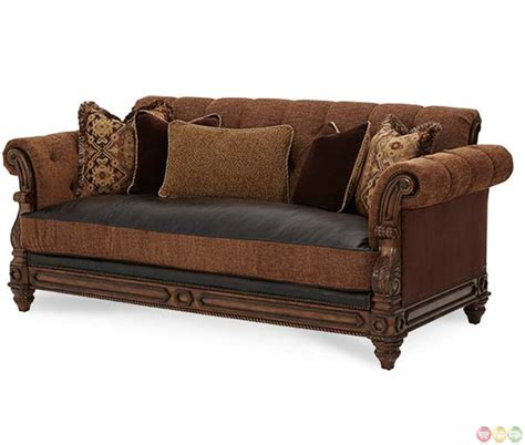 leather sofa fabric michael amini vizcaya leather and fabric upholstery sofa