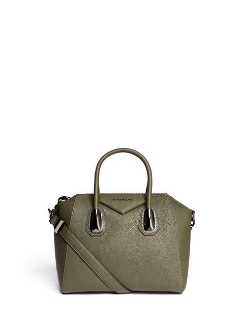 lyst givenchy antigona gunmetal handle base small leather satchel in green