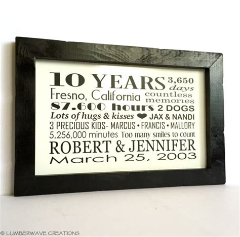 10 year anniversary gift personalized anniversary gift for him