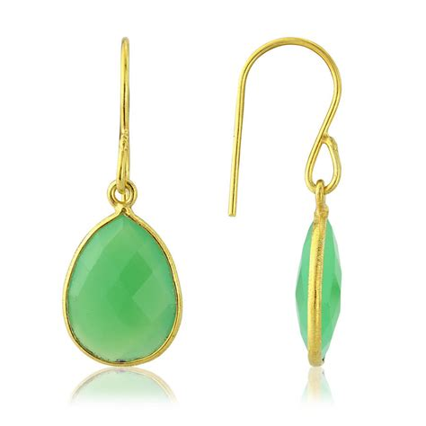 gold and apple green chrysoprase earrings by auree