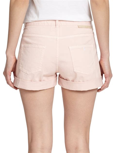 light pink denim shorts stella mccartney distressed denim shorts in pink lyst