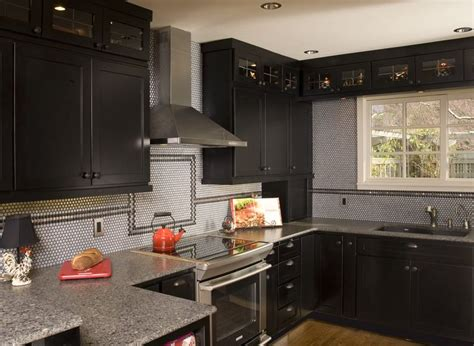 Black Shaker Kitchen Cabinets Transitional Kitchen Maple Black Stained Shaker Door